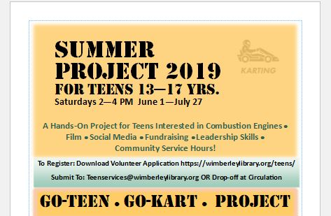 Summer project for Wimberley Teens!